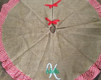 Monogrammed Jute Christmas Tree Skirt