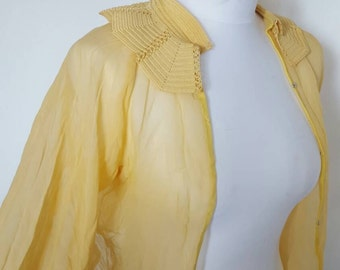 Vintage 1940s lemon bed jacket
