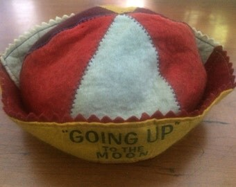 """Felt Multi-Color Flying Turtle Beanie Cap """"Going Up"""" To the Moon"""