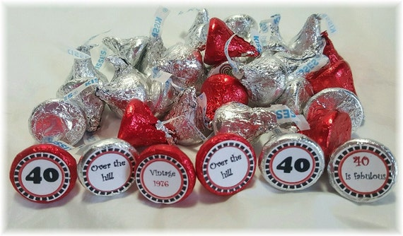 Printable Hershey Kiss labels 40th birthday DIY INSTANT DOWNLOAD-2016 (1976)