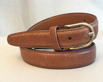 Leather Belt Vintage Tan Brown Gold Metal Buckle