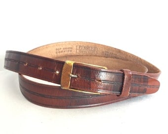 Brown Leather Belt Vintage Metal Buckle size 42