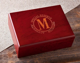 Personalized Cigar Humidor - Custom Engraved Humidor - Cedar Cigar Humidor - Monogrammed Humidor - Groomsmen Gifts - GC1122