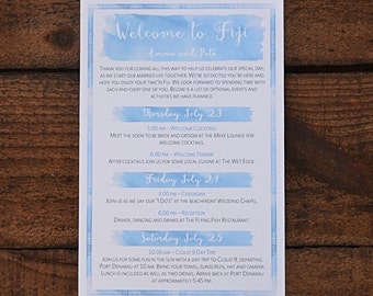 Wedding Welcome Note/Itinerary~ Blue Watercolour ~ PDF