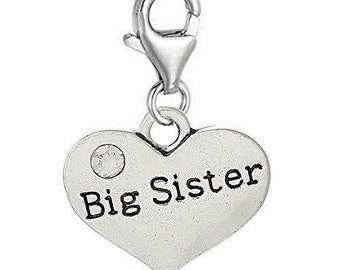 Big Sister Clip On Charm for European Jewelry w/ Lobster Clasp
