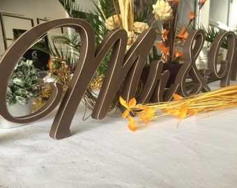Rustic wedding top table decor Mr&Mrs cut out letters Mr Mrs country wedding Distressed mrs and Mr wedding signs