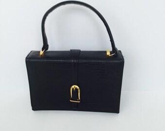 Vintage Black Leather Bag By Doral