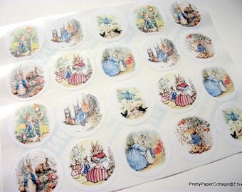 Peter Rabbit, Sticker Sheet, Baby Shower, Birthday Party, Thank You, Favor Bag, Jar Labels, 20 Stickers, Large, 2 Inch, Beatrix Potter