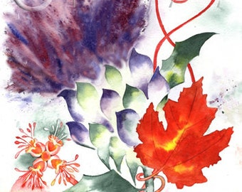 THISTLE MAPLE LEAF Scotland art print of original watercolour painting Scottish Canadian heritage watercolor emblem Canada