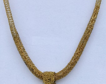 Goldfill Knit Necklace with Pendant