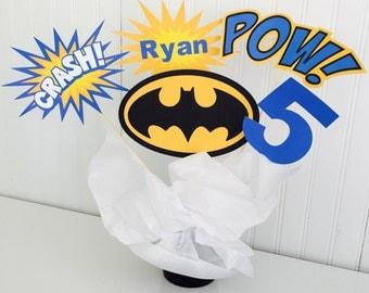 5 Piece Batman Centerpiece, Superhero Centerpiece, Batman Birthday Decor, Cake Topper, Superhero Birthday Decor