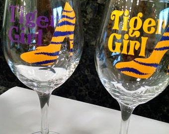 Tiger Girl Wine Glass (LSU)