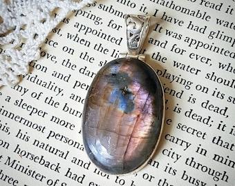 Labradorite spectrolite necklace sterling silver