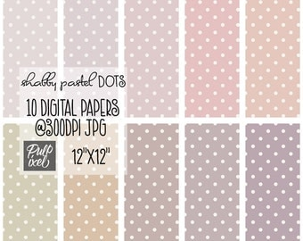 Shabby Pastel Dots // Polkadot Digital Paper // Commercial Use // Instant Download