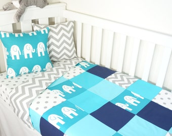 Patchwork quilt nursery set - Turquoise, grey and aqua elephants