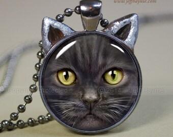 Black CAT NECKLACE // Black Cat pendant // Halloween cat pendant // Long haired black cat jewelry // Cat Pendant // Cat Lovers // SF