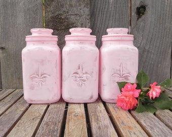 Shabby Chic Pink Canister Set, Set of Three Upcycled Painted Canister Set, Pink Shabby Decor