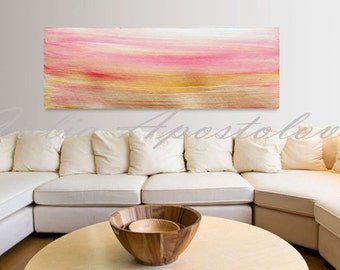 Minimal art, Minimalist painting, Gold and Pink, Abstract Landscape, Art Print, Abstract Sunset, Large Painting Art, Huge Wall Art, Decor