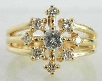 Vintage 14K Gold Diamond Snowflake Ring