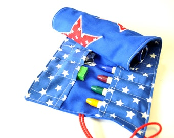 Crayonroll STAR boys, colors red and blue, for 14 beeswaxblocks and 12 beeswax crayons, as used on Waldorfschools.