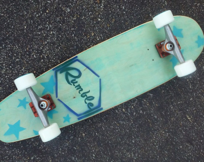 Bomboras Vintage Inspired Cruiser Skateboard - Aqua Blue with Sea Stars Graphic - Complete Option with Trucks and Wheels