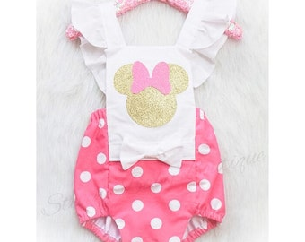 The ORIGINAL / Baby Pink & White polka dot Minnie Mouse inspired Romper / Romper / First Birthday Romper