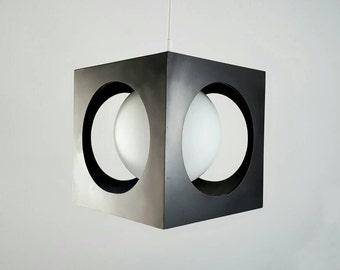 Vintage Black Cube Lamp, the Netherlands 1960s 1970s
