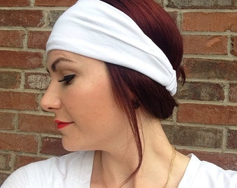 Solid White Head Wrap Headband OR Turban, Wide Headband, Workout Headband, Women's Headwrap