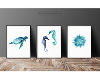 Teal Oceanic Creatures, Set of 3 Prints, Blue Watercolor Painting, Seaurchin Seahorses And Sea Turtle Sealife Poster Kids Room Decor