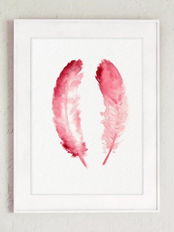 Items Similar To Pink Feathers Art Print Nursery