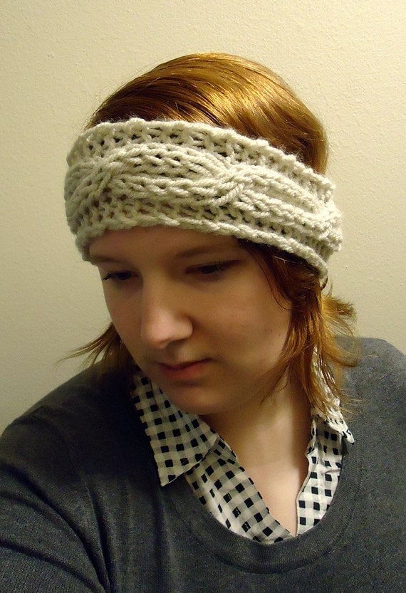 How To Knit Color Patterns : Knitted headband pattern - chunky cable headband - pdf - beginner headband pa...