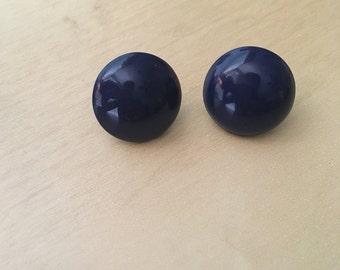 80s button stud earrings! BLUE!