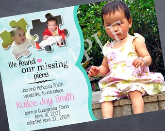 Printable Adoption Announcement - We Found Our Missing Piece - 5x7
