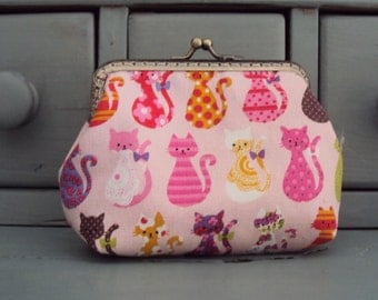 Cat purse, colourful cat purse, kiss lock purse