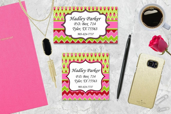Chevron Gift Tags, Chevron Business Cards, Calling Cards, Appointment Cards, Personalized Gift Tags - Pink