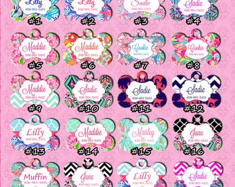 Personalized Pet Tag - Personalized Dog ID Tag - Custom Dog Tag - Dog Collar Name Tag - Lilly Pulitzer Inspired Dog Tag - Different designs