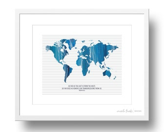 Blue and Grey Painted Map Psalm 103:12 Scripture Art Print   8x10 or 11x14