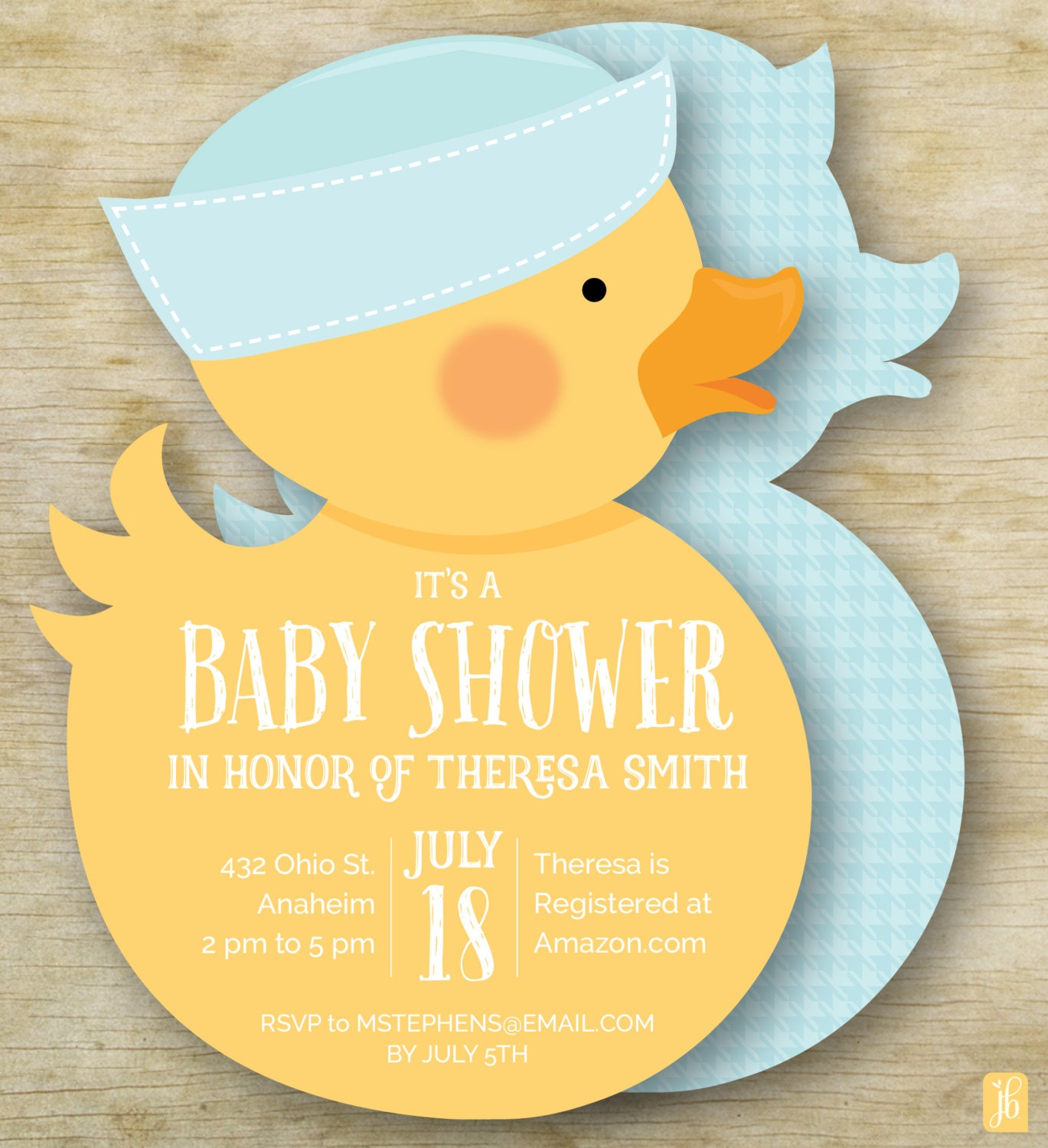 baby shower invitation boy rubber ducky personalized die