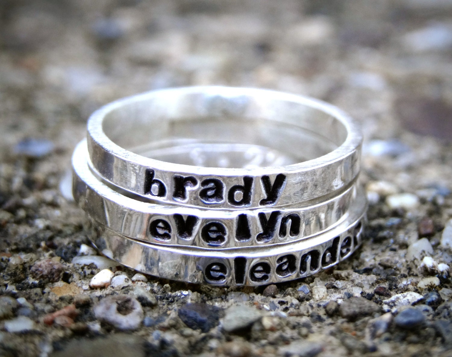 personalized stacking name ring custom name ring sterling. Black Bedroom Furniture Sets. Home Design Ideas