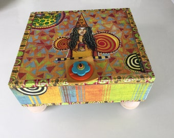 Girl Power   Keepsake Box  Jewelery Box Memory Box Altered Decorated Embellished Cigar Box