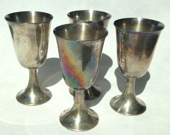 Antique set of 4 Chalices Sliver plated over brass