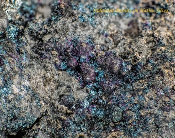 Iridescent Bornite on Native Silver Leaf