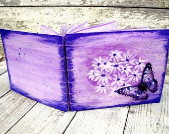 Butterfly elegant photo book, photo album unique gift for bachelorette party, wedding, engagement, hand painted eco recycled handmade paper