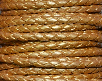 Gold - 3mm Bolo Braided Leather Cord per yard