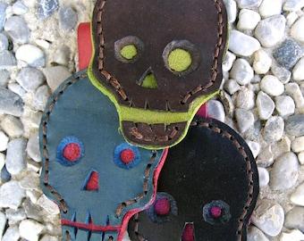 leather key ring skull