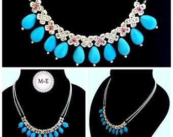 Statement magnesite and swarovski necklace