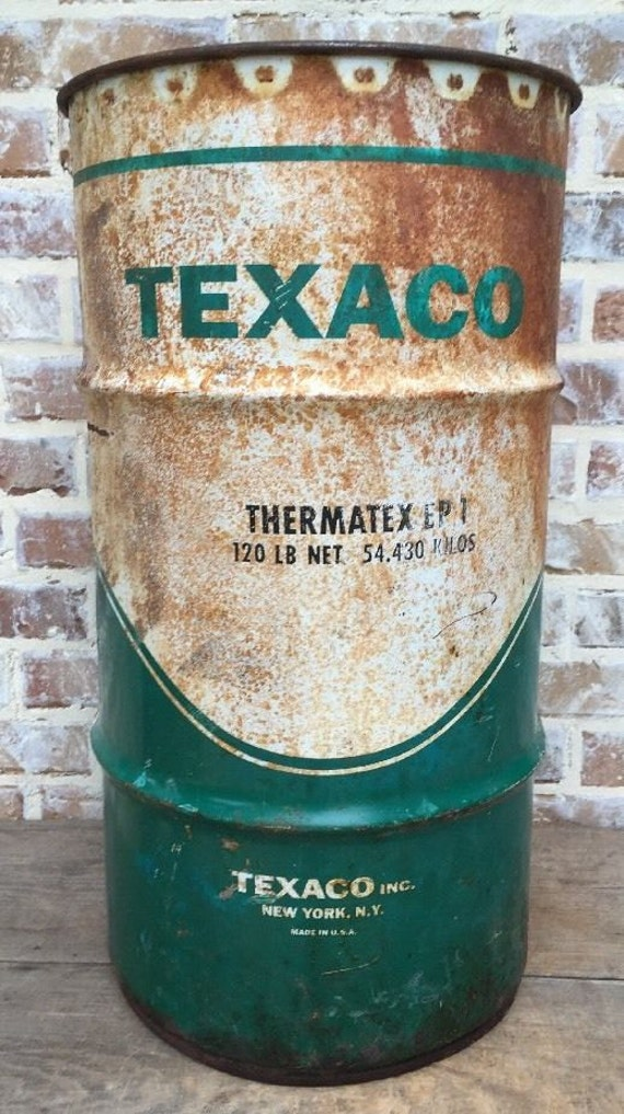 Vintage Texaco Oil Lube Gas Metal Drum Barrel Can Bucket 10