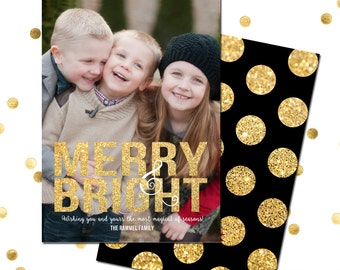 MERRY & BRIGHT Glitter Holiday Photo Card | Holiday Printable Card | Digital Photo Card Christmas - 5X7 with *bonus back side""
