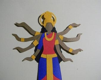 Hindu Goddess Durga Paper Cut