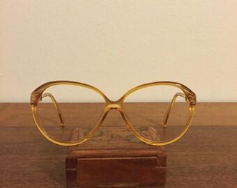 Vintage Eyeglass Frames by Optyl Viennaline Orange Gold Plastic 1970s